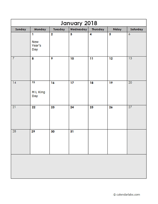 2018 Calendar Template Large Boxes Free Printable Templates