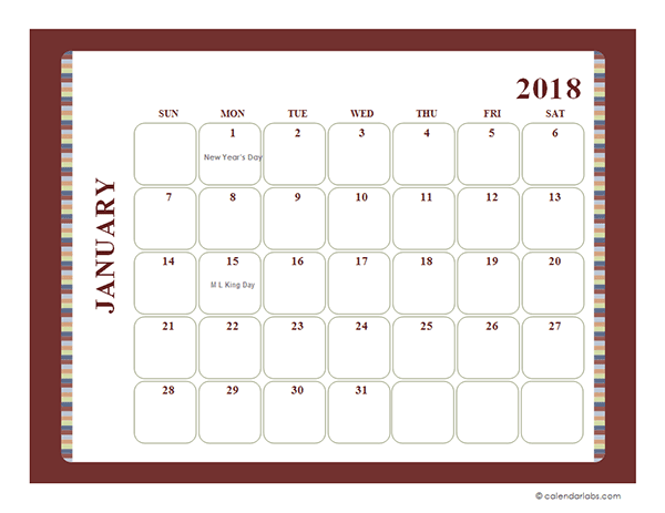 2018 Monthly Calendar Template Large Boxes