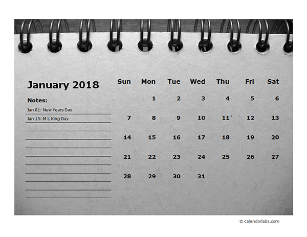2018 Monthly Calendar Template Room for Notes