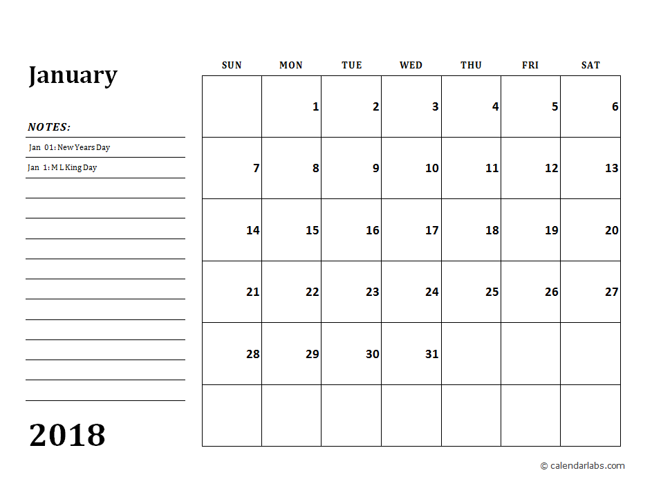 2018 Calendar Template With Monthly Notes Free Printable Templates