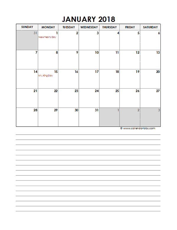 2018 Monthly Excel Template Calendar - Free Printable ...