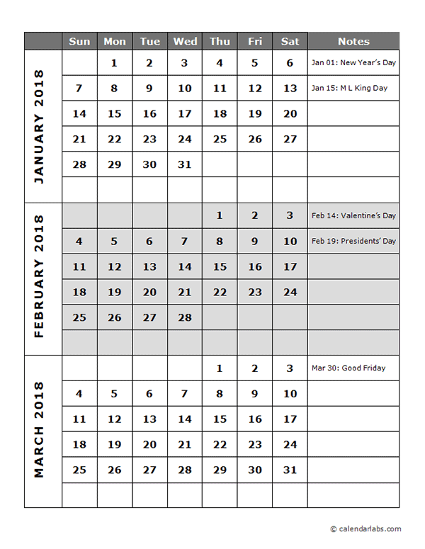 Year Calendar Quarters : Quarterly calendar template free printable templates