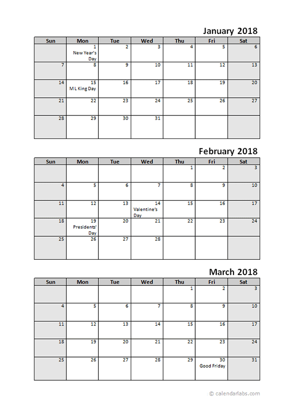 2018 Quarterly Calendar With Holidays Free Printable Templates