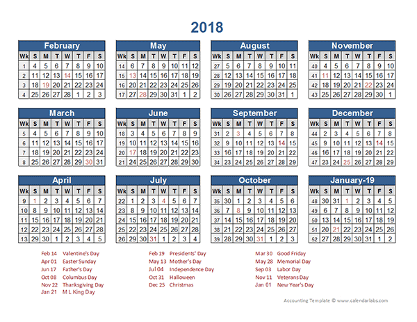 2018 retail accounting calendar 4 4 5 free printable templates