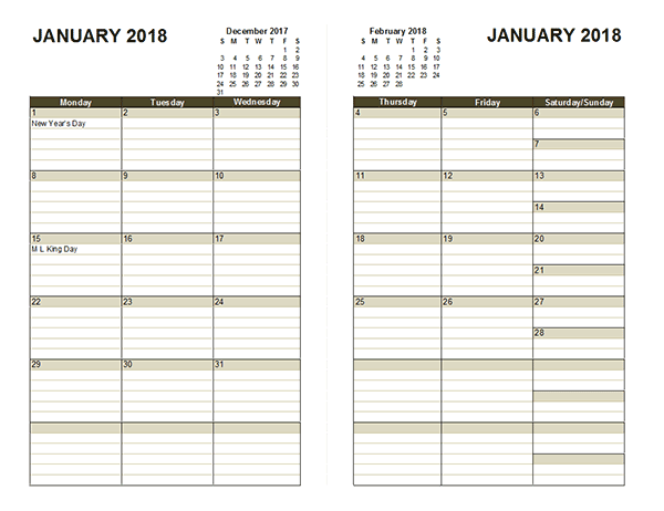 2018 two page monthly calendar
