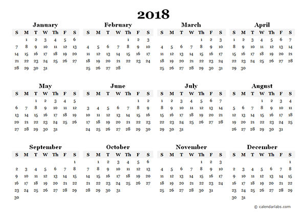 2018 yearly calendar template - Geocvc.co