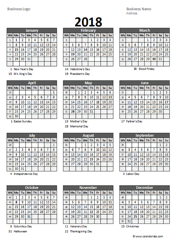 2018 Yearly Business Calendar with Week Number - Free Printable ...