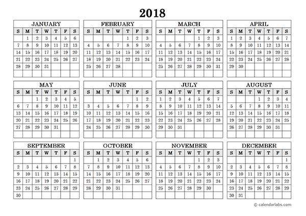 2018 calendar one page - Geocvc.co