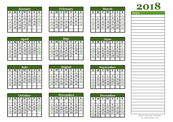 2018 Yearly Calendar With Blank Notes