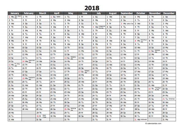 Editable 2018 Yearly Excel Scheduling Calendar Free Printable