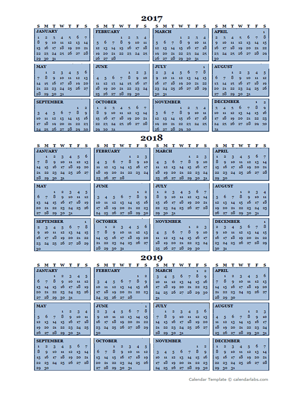 Three Year Calendar Template 2017 to 2019