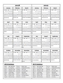 Two Year calendar Template 2018 and 2019