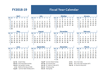 2018 fiscal year calendar template uk