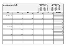2018 monthly planner landscape