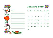 2018 blank calendar design