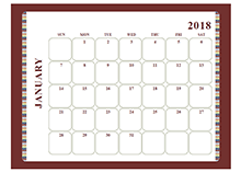 2018 Blank Calendar Large boxes Template