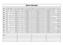 2018 calendar year at a glance template