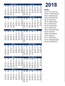 2018 Full Year Calendar Template Half Page