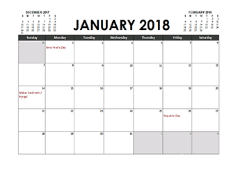 Free Printable 2018 Indian Calendar Templates With Holidays