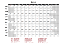 2018 project timeline calendar template for Canada