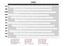 2018 Excel Calendar Project Timeline