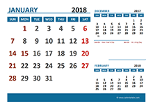 2018 Monthly Calendar with Canada Holidays