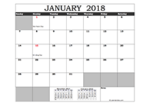 2018 Excel Calendar in Cell