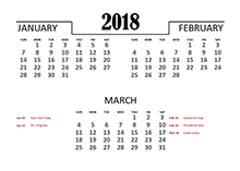 2018 Quarterly Calendar for Canada