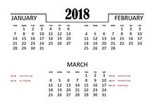 2018 Quarterly Calendar for Singapore