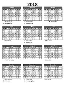 2018 Business Calendar Templates Download Free Business