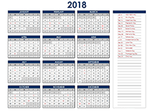 2018 Excel Yearly Calendar