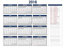 calendar 2018 template excel - Geocvc.co