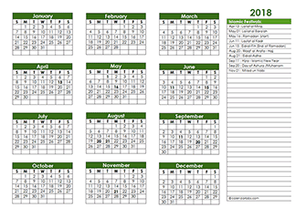 2018 Islamic Festivals Calendar Template