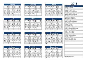2018 Jewish Festivals Calendar Template