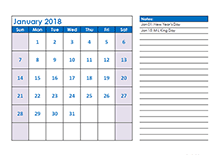 2018 monthly calendar LibreOffice template