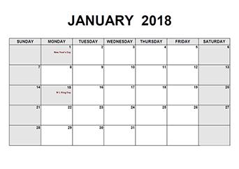 2018 Monthly Calendar PDF