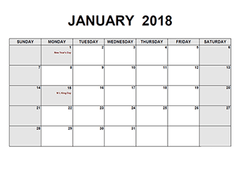 printable monthly calendar templates 2018
