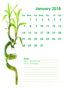 2018 Monthly Calendar Template Green Design