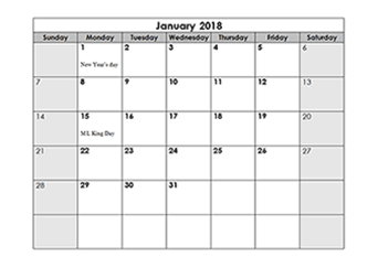 2018 monthly calendar with us holidays