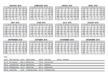 2018 pdf yearly calendar with holidays