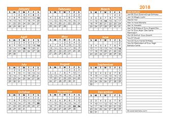 2018 Sikh Festivals Calendar Template