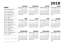 2018 Calendar Template Year at a Glance - Free Printable Templates