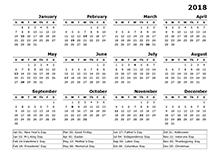 2018 year calendar template - Geocvc.co