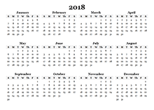 2018 yearly blank calendar template