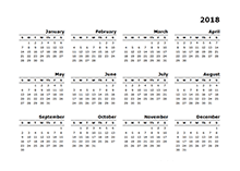 2018 blank calendar templates download free printable
