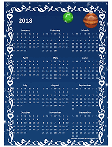 2018 Yearly Calendar Design Template
