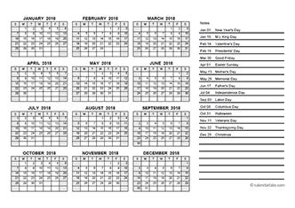 2018 Yearly Calendar PDF