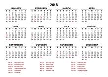 printable 2018 calendar with holidays - Geocvc.co