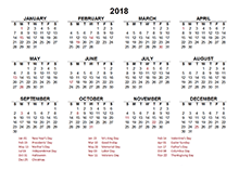 2018 Singapore calendar template with public holidays