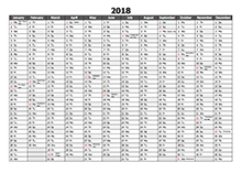 2018 Yearly Excel Scheduling Calendar
